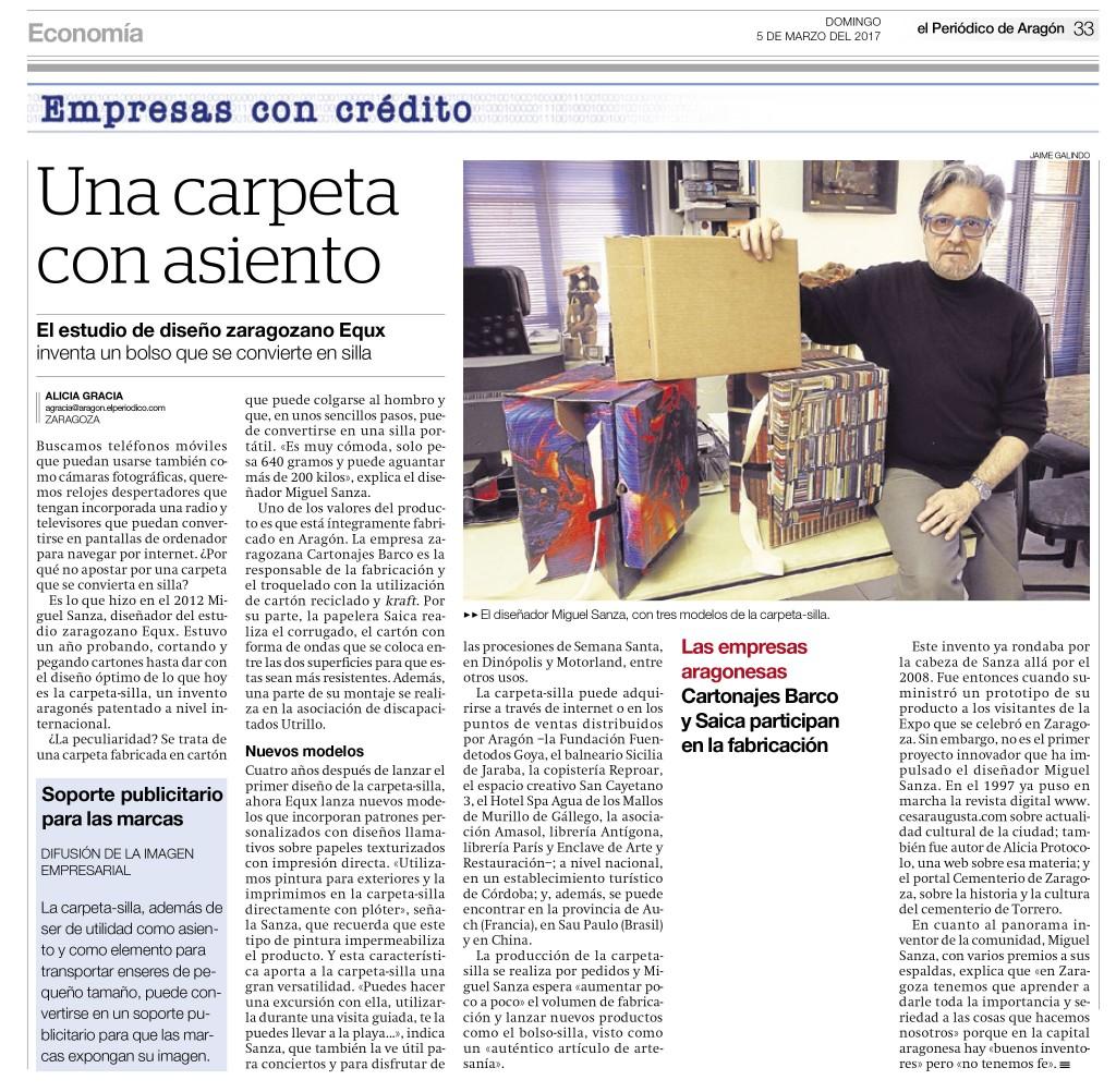 """El Periódico de Aragón, en su sección """"Empresas con Crédito"""","""
