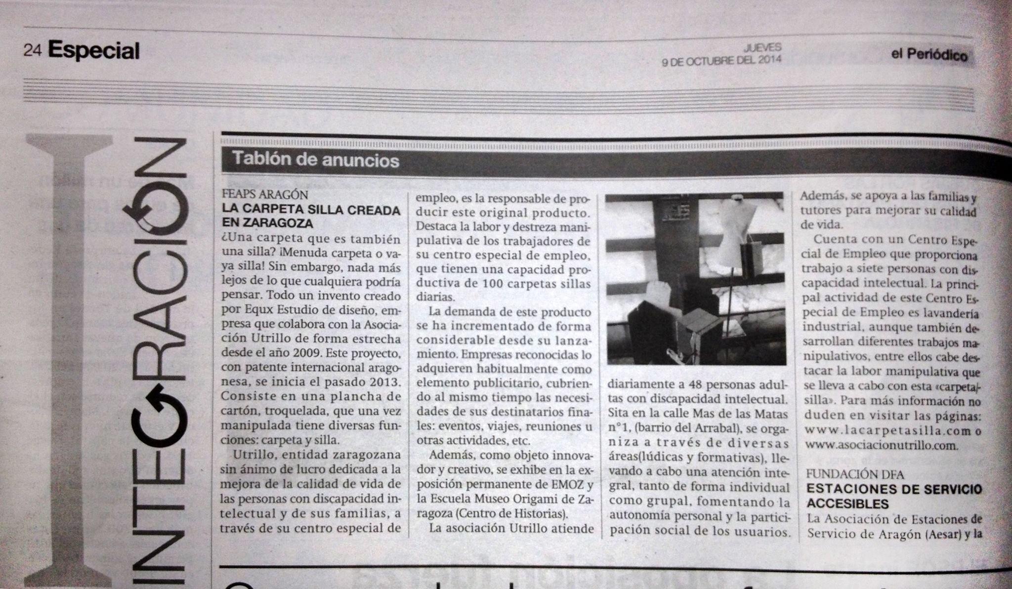 Artículo publicado en la edición especial de El Periódico de Aragón en el que hablan de la Carpeta/Silla y de La Asociación Utrillo.